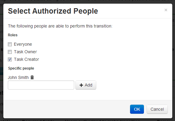 A screenshot of the TaskTrakz add authorized people dialog